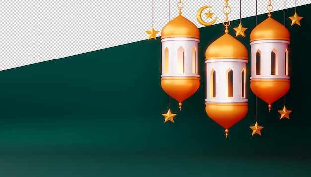 Ramadan kareem achtergrond, 3d-rendering illustratie