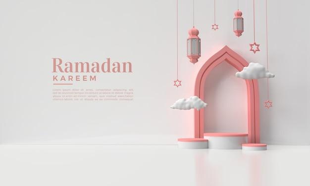 Ramadan kareem achtergrond met 3d render van lichten en wolken illustratie
