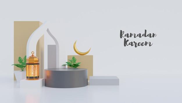 Ramadan kareem achtergrond met podium