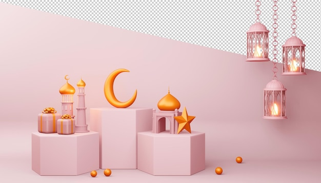 Ramadan kareem achtergrond, moskee gebouw, 3d-rendering