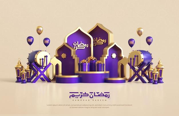 Ramadan kareem begroeting achtergrond met realistische 3d islamitische feestelijke decoratieve elementen Premium Psd