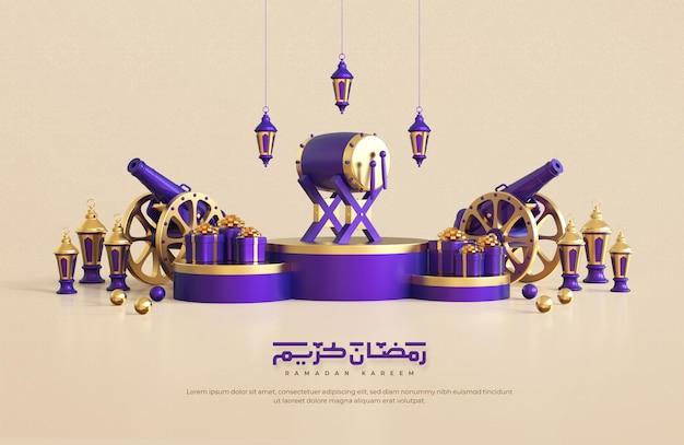Ramadan kareem begroeting achtergrond met realistische 3d islamitische feestelijke decoratieve elementen