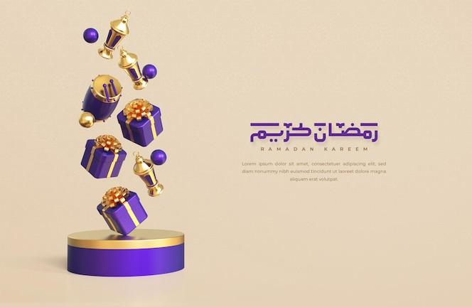 Ramadan kareem begroeting achtergrond met realistische 3d vallende islamitische feestelijke decoratieve elementen