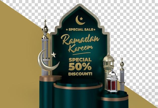 Ramadan kareem eid mubarak 3d islamitische viering ontwerp