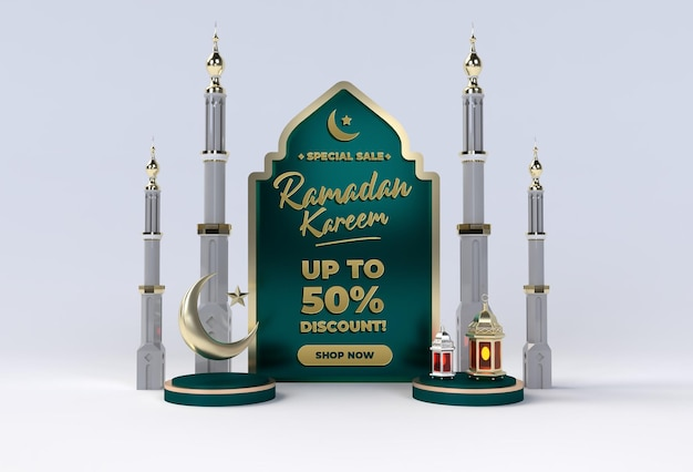 Ramadan kareem happy eid mubarak islamitische viering sjabloon Premium Psd