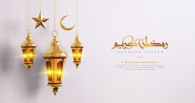 Ramadan kareem islamitische begroeting achtergrond met 3d ramadan decoraties