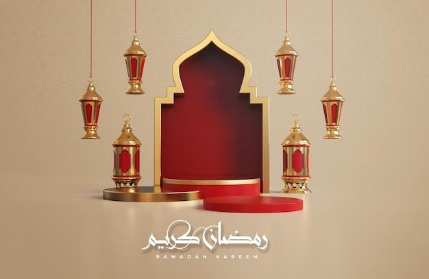 Ramadan kareem islamitische begroeting achtergrond met 3d ramadan decoraties Premium Psd
