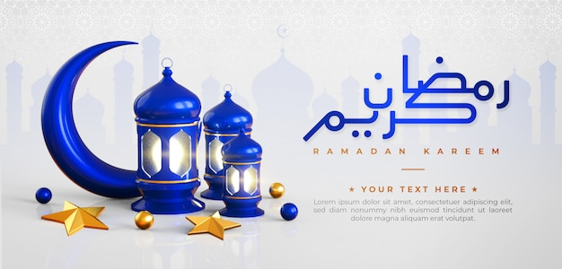 Ramadan kareem islamitische begroeting achtergrond met blauwe halve maan, lantaarn, ster en arabische patroon en kalligrafie