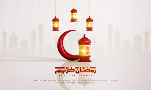 Ramadan kareem islamitische begroeting achtergrond met halve maan, lantaarn en arabische patroon en kalligrafie