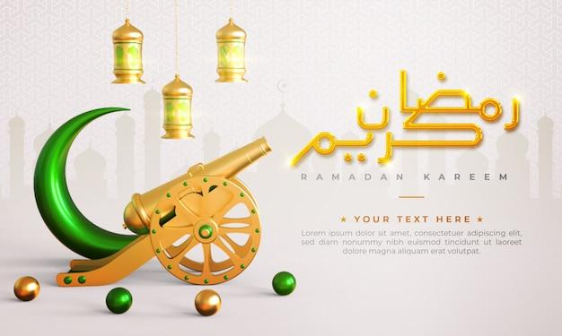 Ramadan kareem islamitische begroeting achtergrond met kanon, halve maan, lantaarn en arabische patroon en kalligrafie