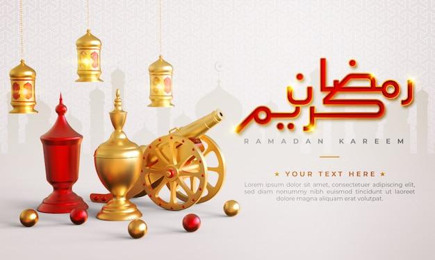Ramadan kareem islamitische begroeting achtergrond met kanon, lantaarn en arabische patroon en kalligrafie