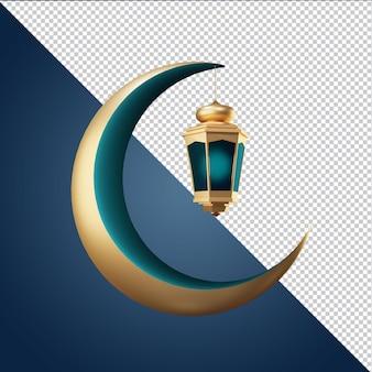 Ramadan kareem maan en lantaarn 3d render geïsoleerd