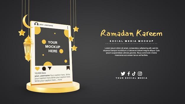 Ramadan kareem moslim met instagram sociale mediapost
