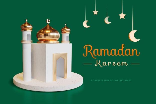 Ramadan kareem-ontwerp met 3d-rendering mockup