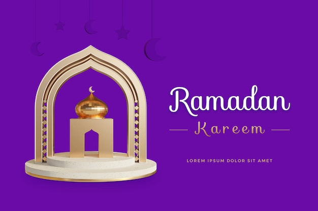Ramadan kareem-ontwerp met 3d-rendering sjabloon