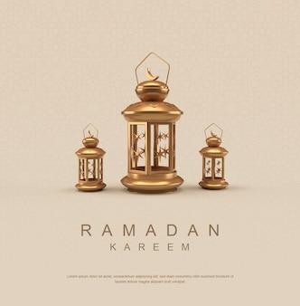 Ramadan kareem-poster met lantaarn