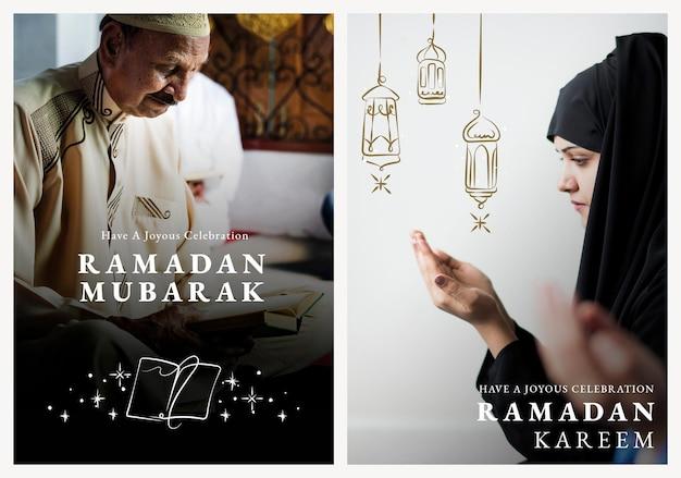 Ramadan kareem-postersjabloon psd met begroetingsset