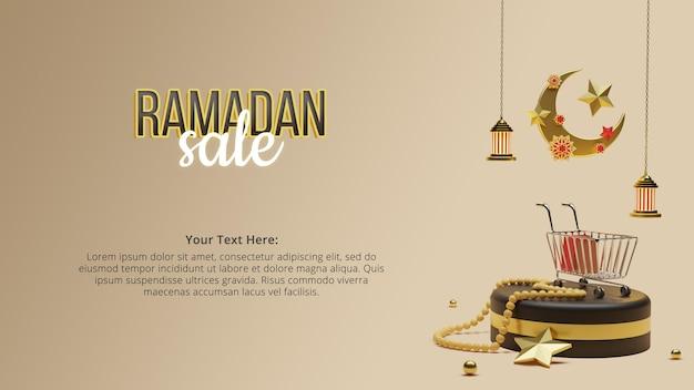 Ramadan kareem prachtige wassende maan op de podiumvloer