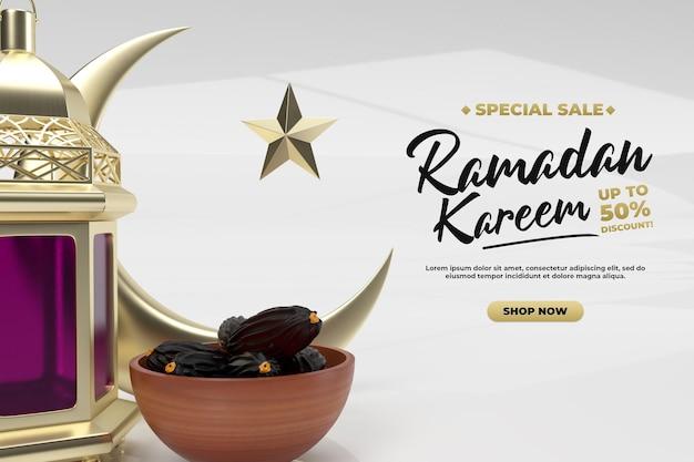 Ramadan kareem realistische eenvoudige 3d render voor feest- en promotiepost