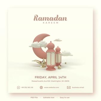 Ramadan kareem-sjabloon met 3d render van lichten en maan