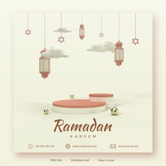 Ramadan kareem-sjabloon met podium en 3d render-verlichting