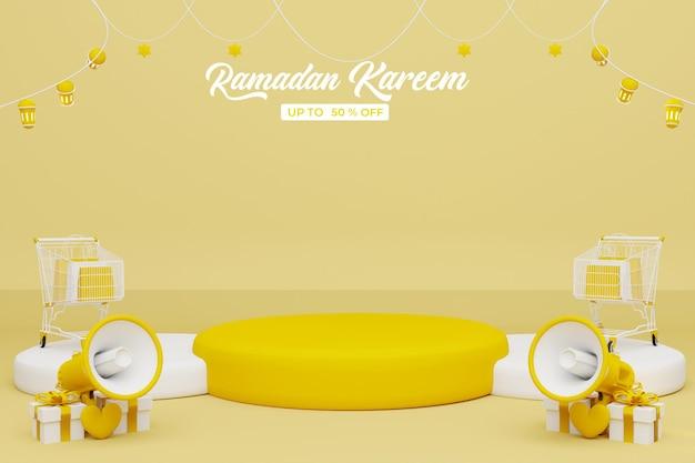 Ramadan kareem verkoop 3d-rendering banner achtergrond
