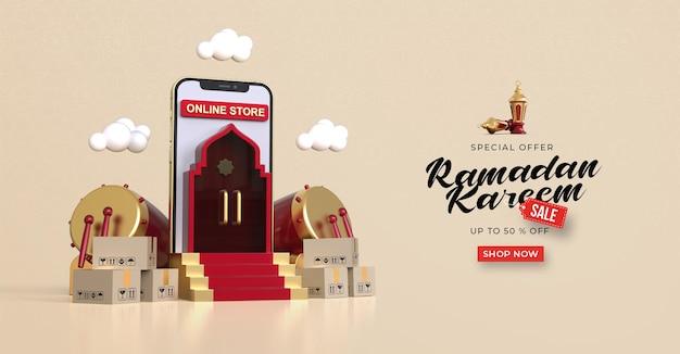 Ramadan kareem verkoop sjabloon voor spandoek met 3d online winkelen op mobiele applicaties