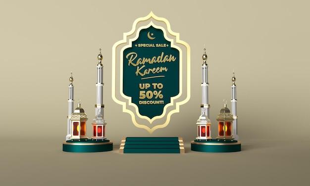 Ramadan kareem verkooppromotie en verkoop 3d viering post