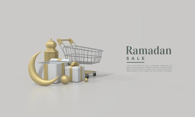 Ramadan verkoop 3d render met illustratie van gouden maan gouden lichten en winkelwagentje