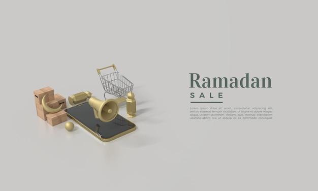 Ramadan-verkoop met sprekersillustratie op smartphone