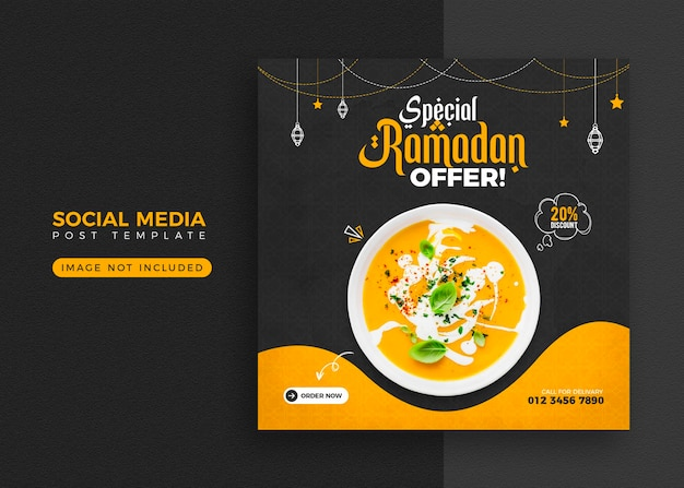 Ramadan voedsel banner en sociale media post sjabloonontwerp