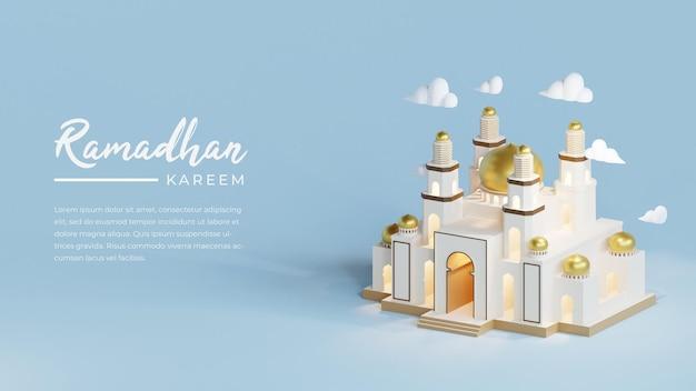 Ramadhan kareem-wenskaart met 3d-moskee gebouw sjabloon