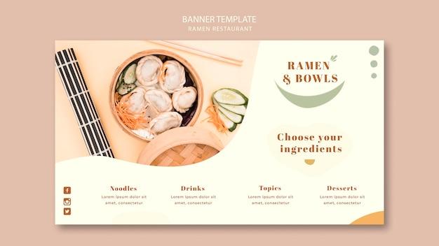 Ramen restaurant sjabloon voor spandoek