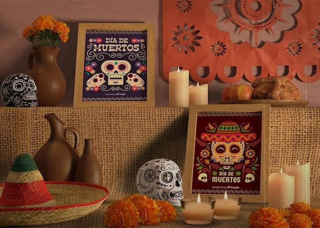 Rangschikking van kleuren en ontwerpen voor de dag van de dode mock-ups