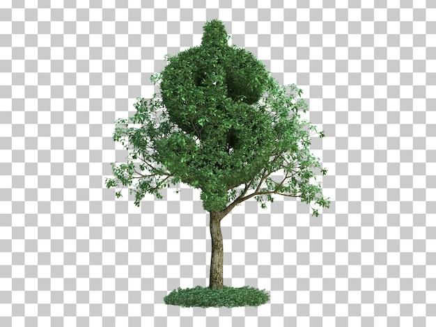 Rappresentazione 3d dell'albero di simbolo del dollaro