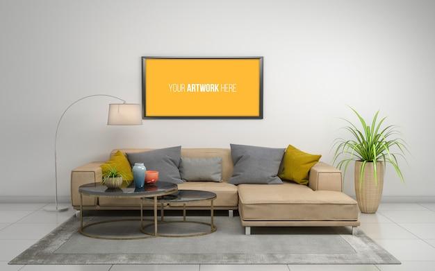 Rappresentazione 3d dell'interno del salone moderno con il sofà, lo strato e la tabella