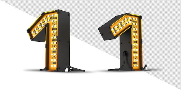 Rappresentazione 3d della luce di numero del led