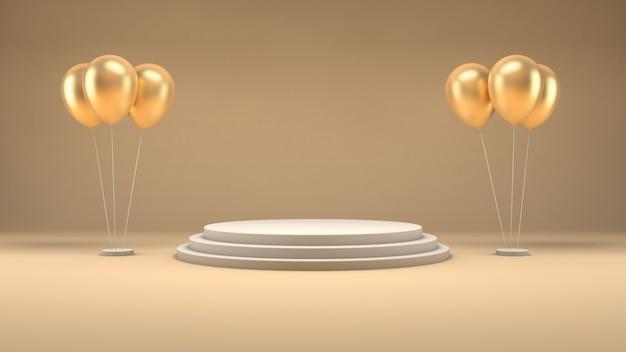Rappresentazione 3d di un podio bianco e dei palloni dorati su una stanza pastello per la presentazione del prodotto