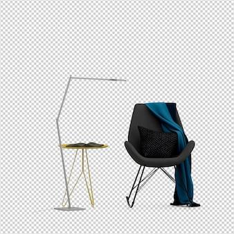 Rappresentazione isolata isometrica 3d della sedia