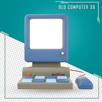 Ratón y teclado de pantalla blanca de computadora vieja
