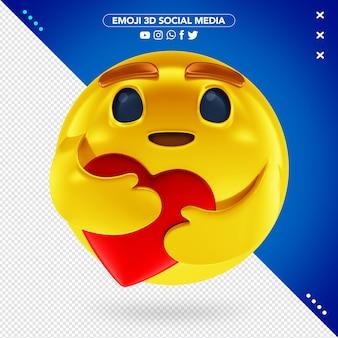 Reacción de cuidado de emoji 3d