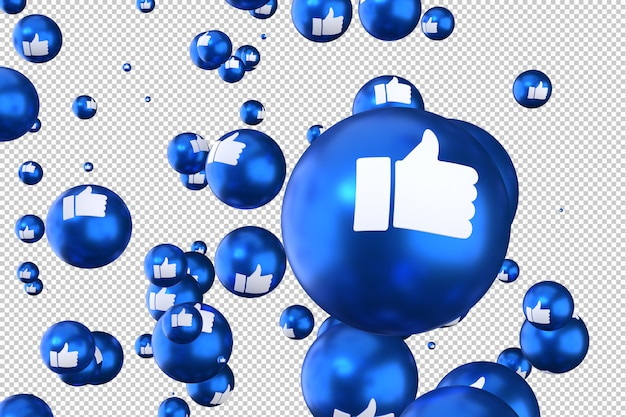 Reacciones de facebook como emoji 3d render símbolo de globo de redes sociales con me gusta
