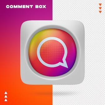 Reactievak van instagram in 3d-rendering geïsoleerd