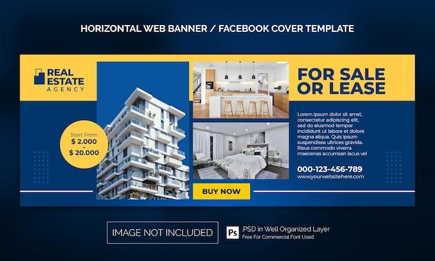 Real estate house property horizontale banner of facebook-omslagadvertentiesjabloon