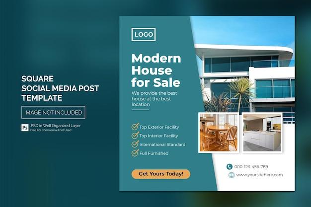 Real estate house property publicación de instagram o plantilla de publicidad de banner web cuadrado