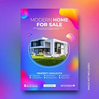 Real estate house sale promotie poster social media post template