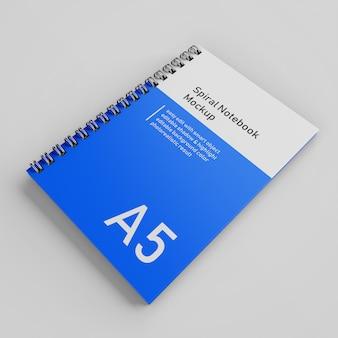 Realista a5 plantilla de diseño de maqueta de cuaderno de tapa dura de cuaderno de tapa dura en espiral en la vista en perspectiva superior