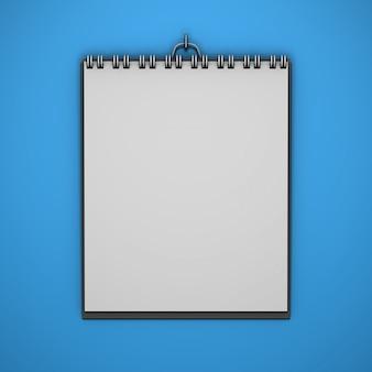 Realista colgando maqueta calendario con fondo de color