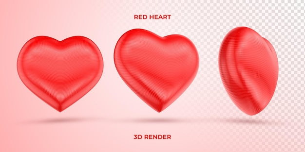 Realista corazón rojo 3d render día de la madre