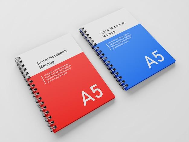 Realista, doble, corporativo, a5, tapa dura, cuaderno en espiral, cuaderno, simulacro, plantilla de diseño, lado a lado, en vista 3/4